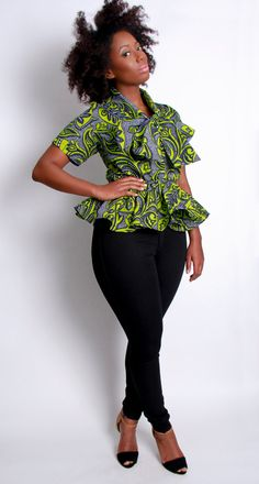 Designer Spotlight: DE-MES'TIKS New York by Reuben Reuel.I have this top in another color. I love his work. African Attire, African Wear, African Dress, African Fashion, Ghanaian Fashion, African Clothes, African Style, African Women, Fashion Prints