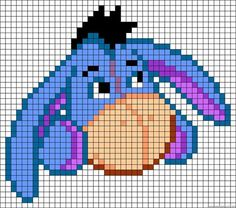Eeyore Perler Bead Pattern - Can also be used for Cross Stitch Pattern! I LOVE Eeyore! Pony Bead Patterns, Pearler Bead Patterns, Perler Patterns, Loom Patterns, Beading Patterns, Art Patterns, Mosaic Patterns, Painting Patterns, Bracelet Patterns