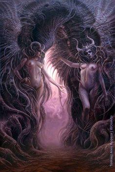 Paradisial Hell Tomasz Alen Kopera Movement: surrealism Type: oil on canvas Dimensions: 195 x 130 cm / x Year: 2017 Dark Fantasy Art, Fantasy World, Dark Art, Fantasy Art Angels, Angels And Demons, Fantasy Landscape, Sacred Art, Fantastic Art, Horror Art
