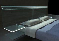 letto in vetro curvato con luce integrata ed accensione separata per lato dx/sx