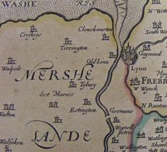 "Settlement to the west of King's Lynn in 1713 atlas (basically Speed 1610 reprint) with ""Mershe Lande"""