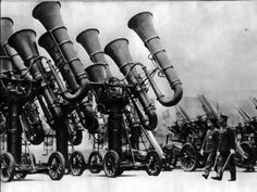 """The Japanese """"War Tuba"""" used to locate enemy aircraft before the invention of radar. Circa 1930."""