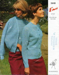 ladies cardigan sweater knitting pattern pdf womens 4ply lacy twin set Vintage 60s 30-40 inch 4ply Instant download by coutureknitcrochet on Etsy