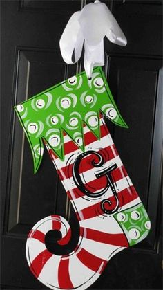 Painted Christmas Stocking Door Decor