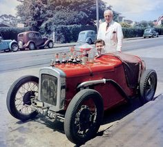 Bruce McLaren in his first racing car - The Austin Seven Special.