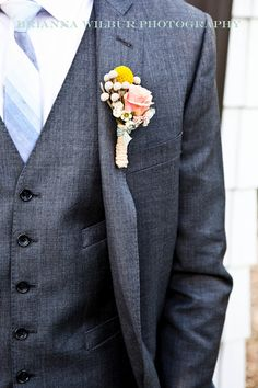 spring groom with vest and striped tie