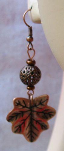 Copper Filigree Leaf Earrings Handmade
