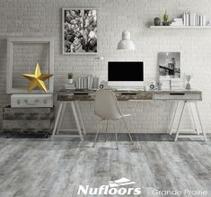 It looks like this room was brightened up with a light colored barn wood floor, but it's actually vinyl! This stylish option is easy to install and even easier to maintain! [Featured: Nautika x Luxury Vinyl Collection] Luxury Vinyl Tile, Luxury Vinyl Plank, Vinyl Plank Flooring, Hardwood Floors, Home Office, Barn Wood, Decoration, Desk, Home Decor