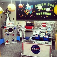 Space Center Dramatic Play - With multiple boxes and tin foil, a Space Station can be created! Students can practice their countdowns, giving instructions, and learn new space vocabulary. Dramatic Play Themes, Dramatic Play Area, Dramatic Play Centers, Space Theme Preschool, Space Activities, Preschool Activities, Space Classroom, Classroom Themes, Role Play Areas