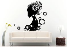 Wall Room Decal Vinyl Sticker Hair Salon Spa Woman Girl Flowers Big Large L545 #3M #VinylPrintArtDecalStickerDecorWallRoomHome
