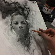 Instagram media by caseybaugh - My charcoal demo today at Townsend Atelier. #caseybaugh #charcoal #art @generalpencil