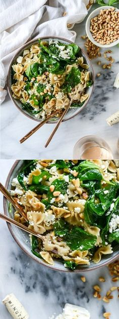 30 Minute Paste with Feta, Arugula and Toasted Pine Nuts by /howsweeteats/ I http://howsweeteats.com