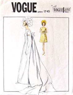 ef2b7100394b 1960s bride s or bridesmaid s dress pattern Vogue Special Design 1745  Patterned Bridesmaid Dresses