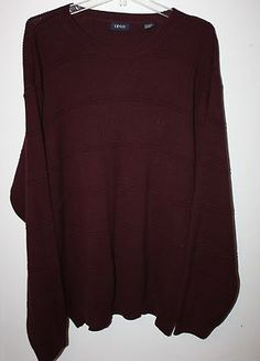 NEW Mens Size XL Dark Red IZOD Pull Over Crewneck Sweater Long Sleeve $19.99