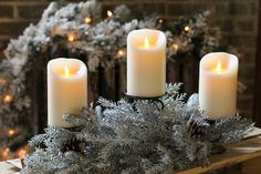 Check out the deal on Holiday 3 Tier Candle Holder - Mixed Pine and Cedar with Snow - 28 Inch at Battery Operated Candles