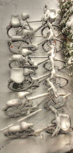Bicycles in Winter by Olaf Wiesner with Pin-It-Button on 500px