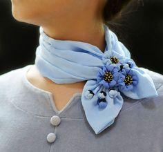 Elegant light blue wildflowers silk neckerchief | Sculpture & Necklace | Light Blue flowers | Fiber art | Wearable art