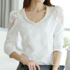 S-XXXL new arrival women Bright Bead V-neck lace Floral blouse shirts, women Autumn long sleeve bluas top blouses