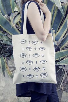 Hand Printed Eyes Tote Bag by Salvaje by SalvajeShop on Etsy, $20.00