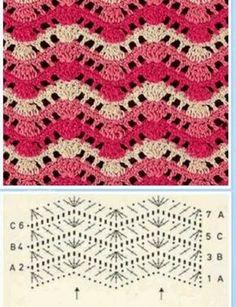50 Ideas For Crochet Blanket Pattern Zig Zag Zig Zag Crochet, Crochet Motif, Manta Crochet, Crochet Instructions, Crochet Diagram, Crochet Chart, Crochet Stitches Patterns, Stitch Patterns, Knitting Patterns