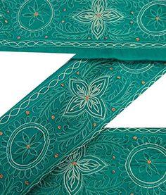 Vintage Sari Border Antique Embroidered Craft 1YD Green Indian Trim Ribbon Lace ValueVintage http://www.amazon.com/dp/B013QXLITE/ref=cm_sw_r_pi_dp_Y05Nwb08FKXGD