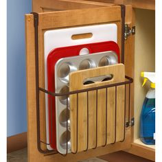 Over the Cabinet Cutting Board and Bakeware Holder Cabinet Door Organizer Find out more about update kitchen cabinets Diy Kitchen Storage, Kitchen Cabinet Organization, Home Organization Hacks, Home Decor Kitchen, Kitchen Furniture, Home Kitchens, Organizing, Kitchen Ideas, Cabinet Ideas