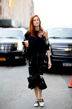 #TTH #taylortomasihill On the street at New York Fashion Week. Photo: Imaxtree