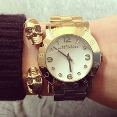 Marc by Marc Jacobs gorgeous gold watch paired with a fab skull cuff.