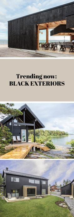 Bold, mysterious and dramatic, the black exterior isn't for everybody but it definitely doesn't go unnoticed. Take a look at some inspiring examples! Black Exterior, Trending Now, House In The Woods, Log Homes, Scandinavian Style, Mysterious, Mansions, Architecture, House Styles
