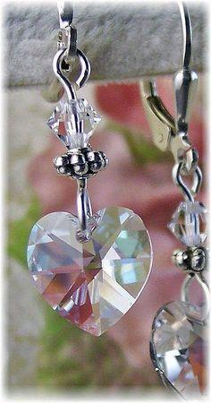 New w/Swarovski Clear Heart Crystal Pendant Dangle Earrings #HisJewelsCreationsDesign #DropDangle