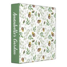 Acorn Greenery Watercolor Pattern 3 Ring Binder - patterns pattern special unique design gift idea diy