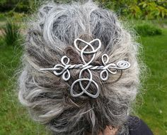 Celtic Trinity Knots Aluminum Hair Pin, Barrette, Hair Slide, Clip, Shawl Pin, Bun Holder, Long Hair Accessories, Knitting Accessory, Women by nicholasandfelice on Etsy https://www.etsy.com/listing/233648027/celtic-trinity-knots-aluminum-hair-pin
