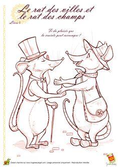 Coloriage rat ville rat champs sur Hugolescargot.com - Hugolescargot.com