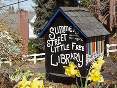 little free library. Love this idea. Great way to build community.