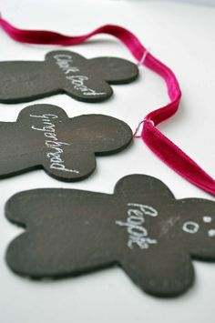 Chalkboard Gingerbread ..cute idea may modify to make a garland with family members names or words of encouragement :)