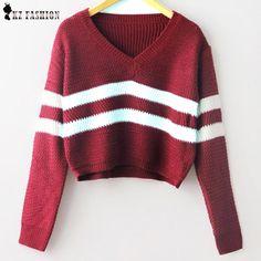 Otoño 2015 rayó punto corto Pullover Sweater mujeres moda V cuello de manga larga casual géneros de punto de corea del estilo remata nueva T58305(China (Mainland))