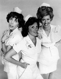 photo of the waitresses at Mel's Diner from the television program Alice. From left: Beth Howland as Vera, Linda Lavin as Alice, and Polly Holliday as Flo.