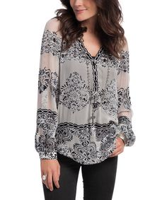 Look what I found on #zulily! Gray Semi-Sheer Avery Top #zulilyfinds