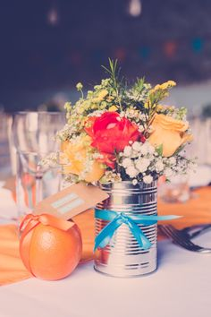 tin can flowers wedding http://www.ifocusphotography.co.uk/