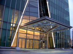 Entrance canopy / for commercial buildings / metal / glass AZIA CENTRE by Kohn Pedersen Fox Associates Permasteelisa