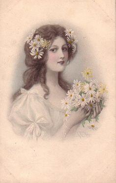 Lovely mm Vienne Woman with Daisies Original Vintage Art Postcard Images Vintage, Art Vintage, Decoupage Vintage, Vintage Crafts, Vintage Pictures, Vintage Postcards, Vintage Ladies, Antique Photos, Victorian Women
