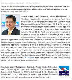 Quantum does not believe Elections matter in India's growth story.. Read Jimmy Patel, CEO of Quantum Asset Management in an interview with India Infoline to know why. Also covered are Jimmy's broad views on a range of issues related to investments, #mutualfund industry and the economy. http://www.indiainfoline.com/Markets/News/Jimmy-Patel-CEO-Quantum-Asset-Management/5858452985