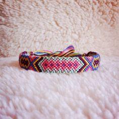 Friendship Bracelet - READY TO SHIP: Braided Handmade Embroidery Floss Fiber Friendship Bracelet - Thin Tribal Diamonds