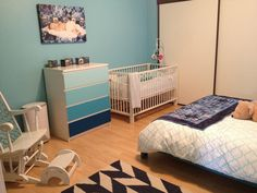Boys nursery, ombré blue dresser (ikea hack)