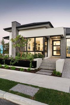 Exterior colors, materials ,look Modern Exterior House Designs, Dream House Exterior, Modern Architecture House, Modern House Plans, Modern House Design, Architecture Design, Home Exterior Design, Modern Bungalow Exterior, Modern House Facades