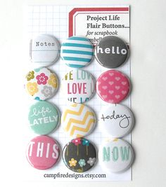 BLUSH Project Life Flair Buttons or Badges - Blush Edition - Set of 12 flat back flair