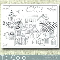 Printable Houses Coloring Page for Adults, PDF / JPG, Instant Download, Coloring Book, Coloring Sheet, Grown Ups, Digital Stamp by ToColor on Etsy