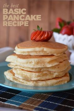 The BEST Basic Pancake Recipe -- Everyone needs a simple pancake recipe that del. - The BEST Basic Pancake Recipe — Everyone needs a simple pancake recipe that delivers light, fluff - Breakfast Desayunos, Breakfast Dishes, Breakfast Ideas, Tasty Pancakes, Buttermilk Pancakes, Pancakes With Coconut Milk, Potato Pancakes, Dessert Recipes, Pancake Recipes