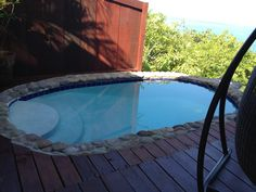 Our private plunge pool in St.Lucia overlooking the sea