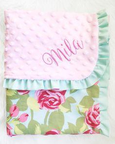 Large NEW Girls Pink Quatrefoil  Baby Keepsake Minky Dot Blanket w// Satin Ruffle